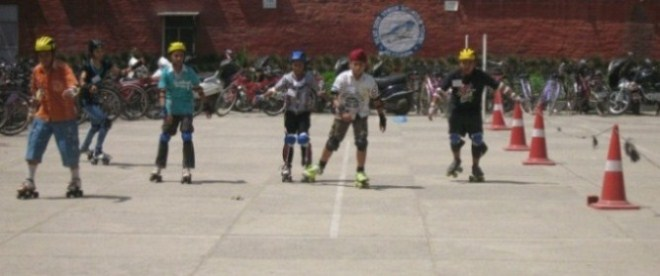 Students attending the Skating Training Summer Camp